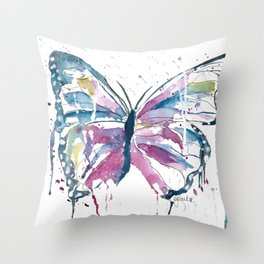 Vibrant Butterfly Throw Pillow