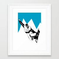 snowboarding Framed Art Prints featuring Snowboarding Design by Cwilwol
