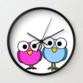 Pink and blue googly eyed birds cartoon Wall Clock