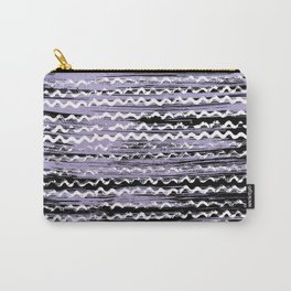 Geometrical lilac black white watercolor brushstrokes Carry-All Pouch