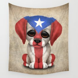 Cute Puppy Dog with flag of Puerto Rico Wall Tapestry