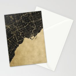 Toronto Gold and Black Street Map Stationery Cards