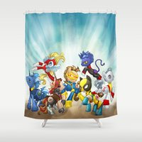 x men Shower Curtains featuring MLP X-Men by Kimball Gray