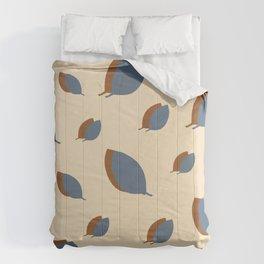 Blue leaves pattern on vanilla Comforters