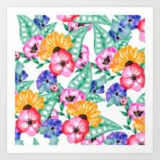 Modern hand painted floral watercolor floral bouquet Art Print