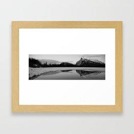Banff Alberta, Rundle Mountain in  BLACK AND WHITE Framed Art Print