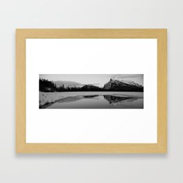Banff Alberta, Rundle Mountain in  BLACK AND WHITE Framed Art Print