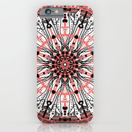 mandala in grey,black and living coral iPhone Case