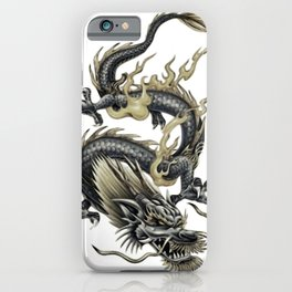 Lucky Chinese Dragon In Gray and Gold iPhone Case
