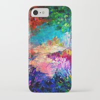 jazzberry iPhone & iPod Cases featuring WELCOME TO UTOPIA Bold Rainbow Multicolor Abstract Painting Forest Nature Whimsical Fantasy Fine Art by EbiEmporium