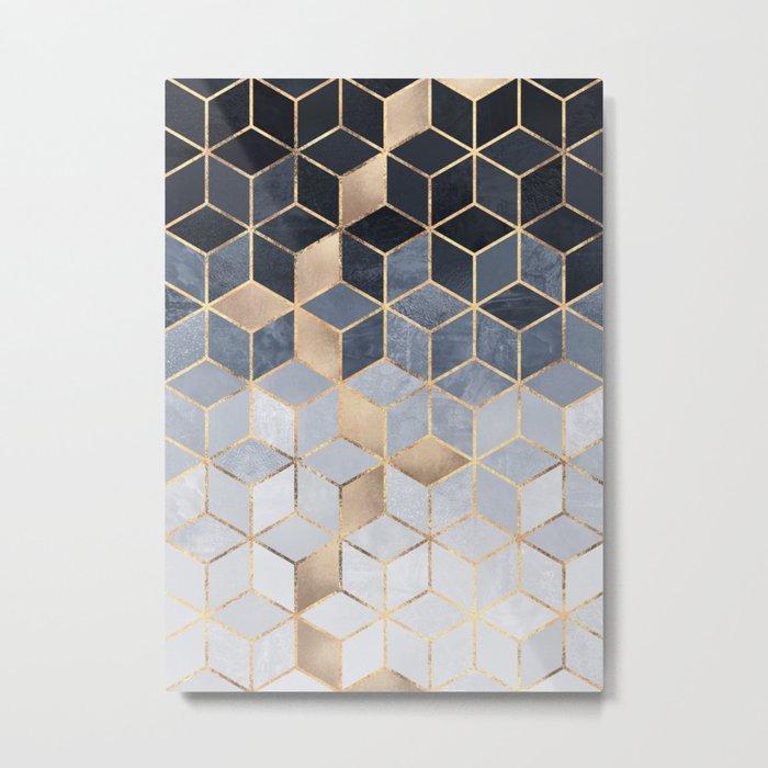 Soft Blue Gradient Cubes Metal Print