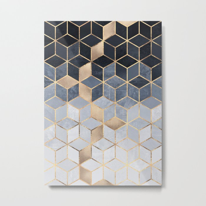 Soft Blue Gradient Cubes Metal Print