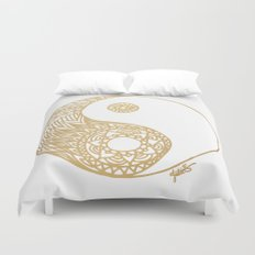 Golden Yin Yang Duvet Cover
