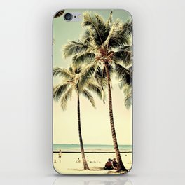Retro Vintage Palm Tree with Hawaii Summer Sea Beach iPhone Skin