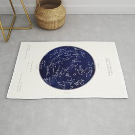 French October Star Map in Deep Navy & Black, Astronomy, Constellation, Celestial Rug