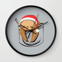 Sloth in a Pocket Xmas Wall Clock