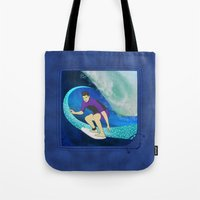 surfing Tote Bags featuring Surfing  by Aquamarine Studio