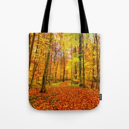 Autumn Forest with Fallen Leaves Tote Bag