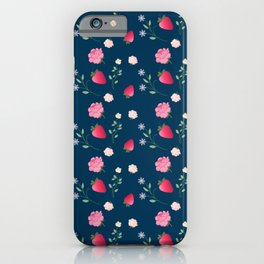 Charming Strawberry and Flower Pattern(blue) iPhone Case