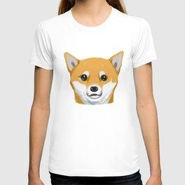 a shiba inu dog headshot T-shirt