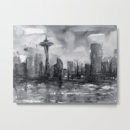 Seattle Skyline Painting Watercolor Black and White Space Needle Metal Print