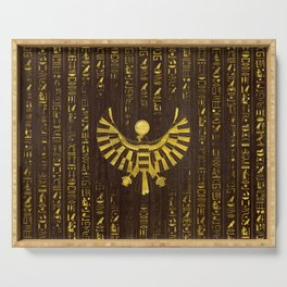 Golden Egyptian Horus Falcon and hieroglyphics on wood Serving Tray