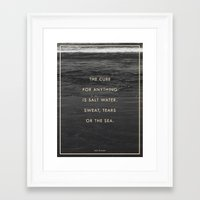 salt water Framed Art Prints featuring Salt Water by Galaxy Eyes