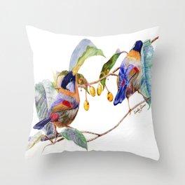 Silver-Eared Mesia Birds Throw Pillow