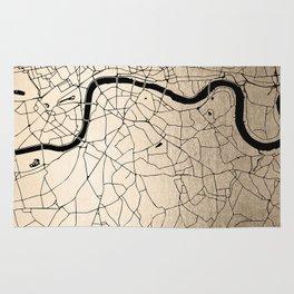 London Gold on Black Street Map II Rug
