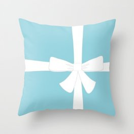 New Blue Bow Throw Pillow