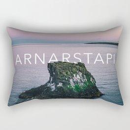 Arnarstapi Rock - Typography Rectangular Pillow