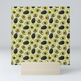 Dancing Millennial Avocados on Beige, Ditsy print Mini Art Print