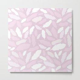 Feather Pattern Pink Metal Print