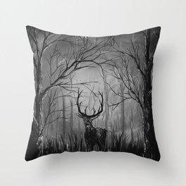 The Deer B+W Throw Pillow