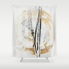 Gold and Black Minimal Abstract painting by Ingrid Beddoes Shower Curtain