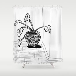 Black and White Elephant Ear Shower Curtain