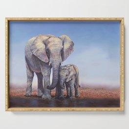 Elephants Mom Baby Serving Tray