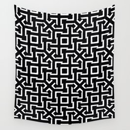 Black and White Ethnic Geometric Pattern Wall Tapestry