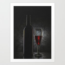 Wine Glass And Bottle Art Print