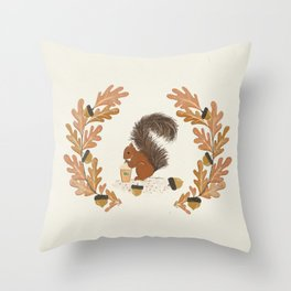 Pumpkin Spice Squirrel Throw Pillow