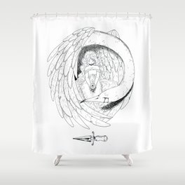 The girl and the bird Shower Curtain