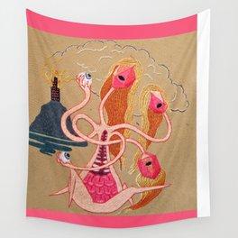 Three headed virus with innards Wall Tapestry