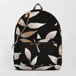 Bronze Berries And Leaves Watercolor Pattern On Black Backpack