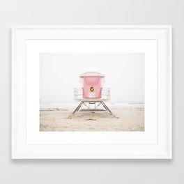 Beach photography pink tower Framed Art Print