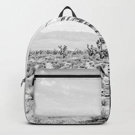 Cactus Wildflower // Black and White Desert Landscape Joshua Tree Backpack