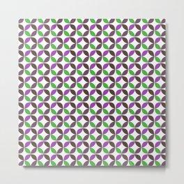 Abstract ultra violet green geometric quatrefoil pattern Metal Print