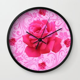 BEAUTIFUL  PINK ROSE SCROLLS GARDEN ART Wall Clock
