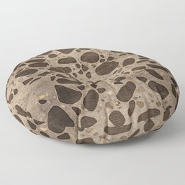Terrazzo - Mosaic - Wooden texture and gold #6 Floor Pillow