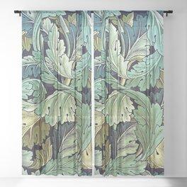 William Morris Herbaceous Italian Laurel Acanthus Textile Floral Leaf Print  Sheer Curtain