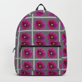 PURPLE FLOWERS IN GREY GRID PATTERN ART Backpack